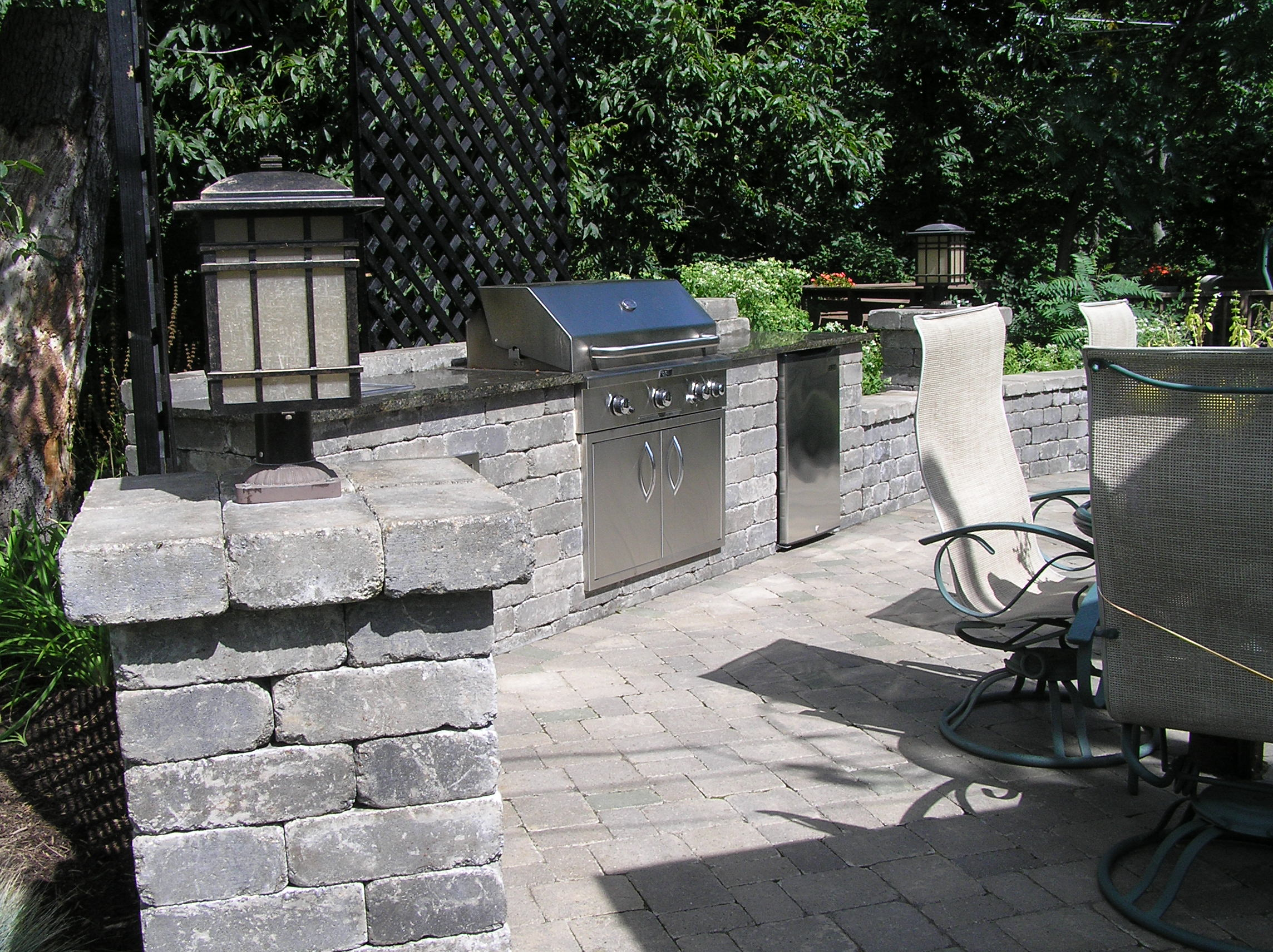 patio walkways retaining wall hardscape installation greenview